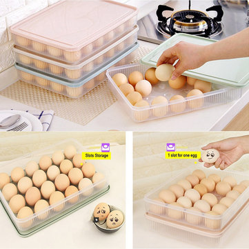 KCASA KC-ES01 24 Slots Egg Refrigerator Storage Holder Organizer Kitchen With Dust-Proof Lid