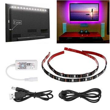 ARILUX® 2PCS 50CM 5V 5050 WiFi Controller IP65 RGB USB LED Strip Light TV Background Lighting Kit