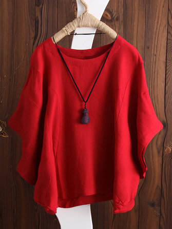 S-5XL Women Batwing Short Sleeve Cotton Blouse