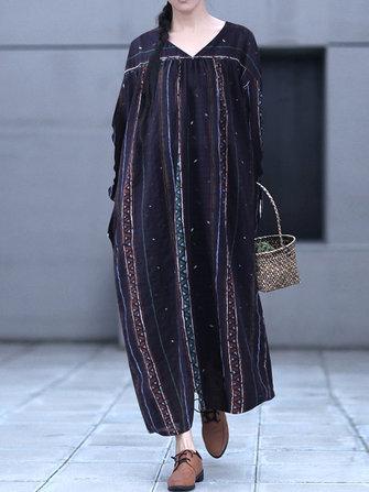 Vintage Blom V-Neck Stripe Long Maxi Dress