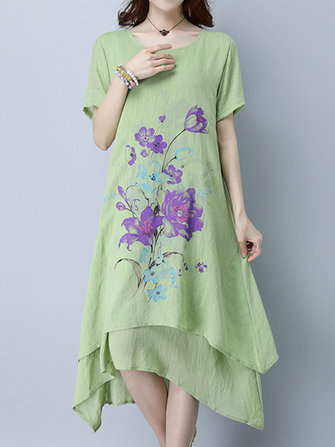 Women Printed Loose Short Sleeve O-neck Vintage Dresses