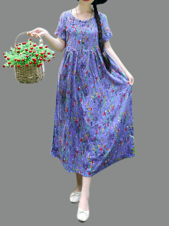 Casual Women Floral Printed O-Neck Loose Short Sleeve Dress