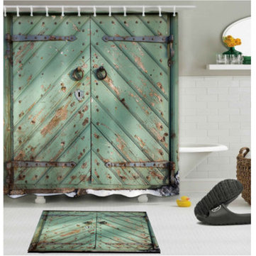 180cm x 180cm Rustic Wooden Barn Door Bathroom Waterproof Fabric Shower Curtain Flannel Bathroom Mat