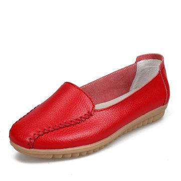 Женщины мокасины обувь случайные открытый скольжения на кожаных квартирах
