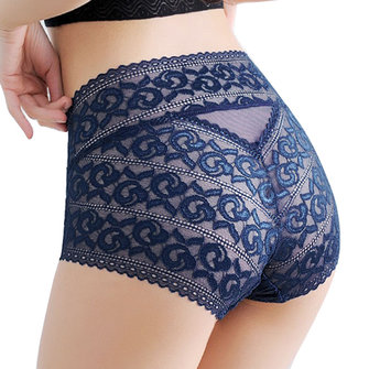 High Waist Pure Lace Sexy Transparent Cotton Crotch Panties