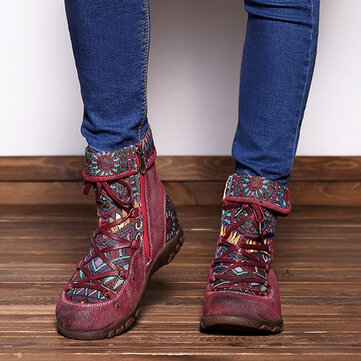 SOCOFY Genuine Leather Splicing Jacquard Pattern Zipper Ankle Boots