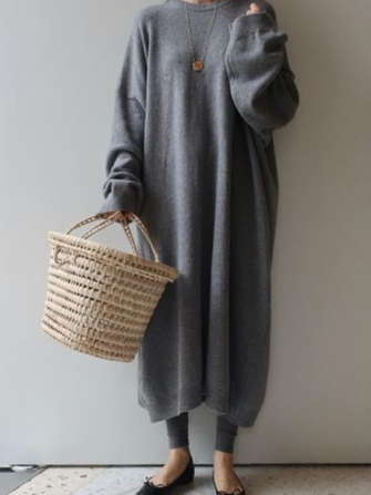 Women Winter Casual Crew Neck Long Sleeve Knit Sweater Dress