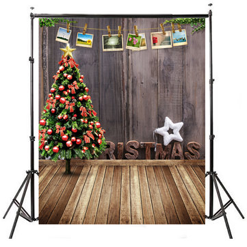 5x7FT Christmas Tree Wooden Floor Wall Photography Backdrop Studio Prop Background