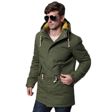 Mens Winter Plus Thick Warm Cotton Padded Mid Long Hooded Parka Jacket