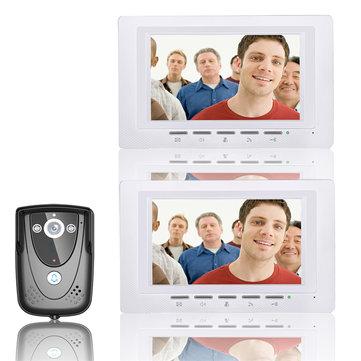 ENNIO SY817FCB12 7 Inch Video Door Phone Doorbell Intercom Kit 1 Camera 2 Monitors Night Vision