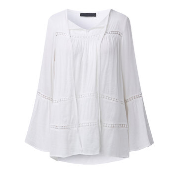 Casual Women Flouncing Long Sleeve Crochet Hollow Out Rayon Blouses
