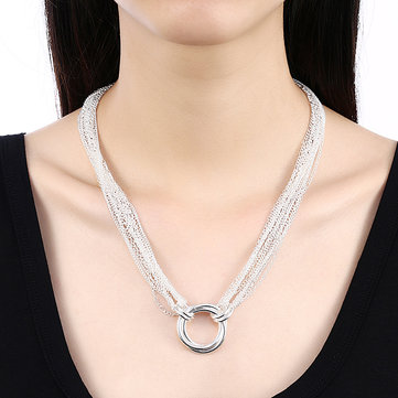 YUEYIN Multi-line Three Circle Simple Circular Pendant Necklaces for Women