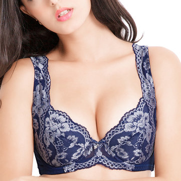 Plus Size Women Lace Embroidery Bra Gathered 3D Push Up Luxurious Vest Top Underwear