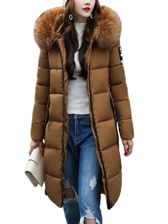 Casual Women Slim Fit Solid Hooded Thicken Long Down Jacket