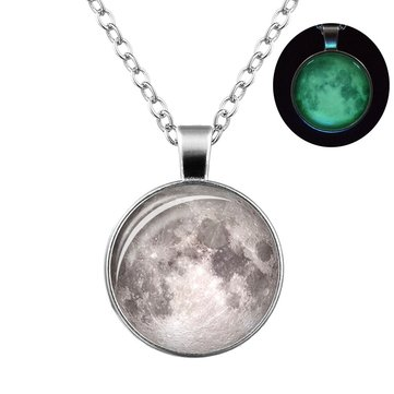 Retro Luminous Moon Long Necklace Sliver Alloy Sweater Necklace Unisex
