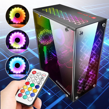 PC Computer ATX PC Case Midi Tower With 3 RGB 120mm Cooling Fans Remote control
