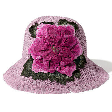 Women Summer Outdoor Breathable Embroidered Flower Wide Brim Hat Tassel Visor Hat