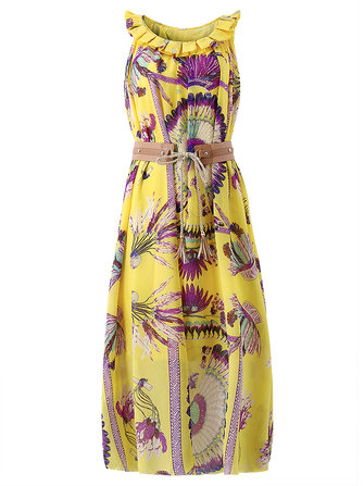 Women Loose Bohemia Printing Sleeveless Wasit Beach Maxi Dress
