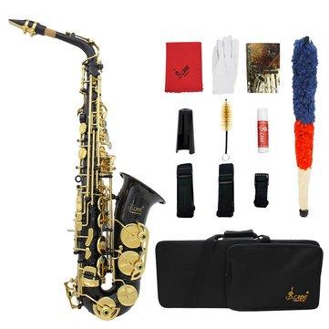 Laiton Gravé Eb mi bémol Saxophone Alto Sax avec Gants de protection Pinceau Ceinture en tissu