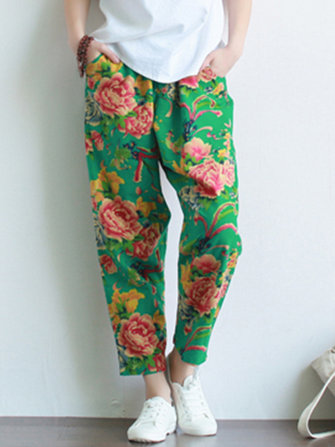 Retro High Waist Chinese Style Floral Print Pants