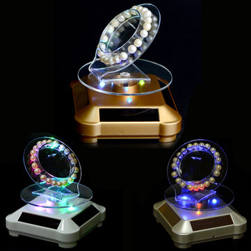 LED Solar Power Rotary Showcase Jewelry Display Stand Holder