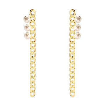 JASSY® Elegant Pearl Earrings Simple 18K Gold Plated Chain Pendant Long Ear Stud Gift for Women