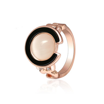 Trendy Rose Gold Engagement Ring Circle Shape Opal Ring Cothing Accessories