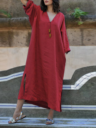 Plus Size Casual V-neck Batwing Sleeve Kaftan Dress