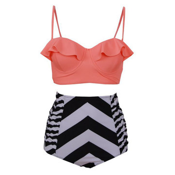 Push Up Flounce Draped High Waist Bandeau Tankini Set