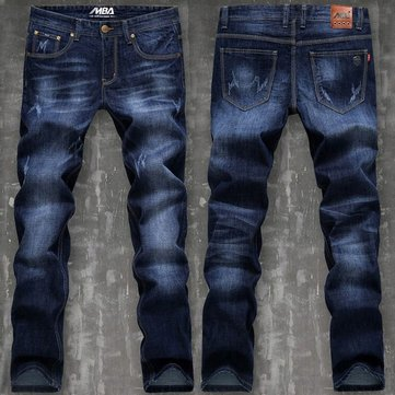 Mens Dark Blue Washed Straight Leg Waterstreak Worn-out Jeans Denim Pants