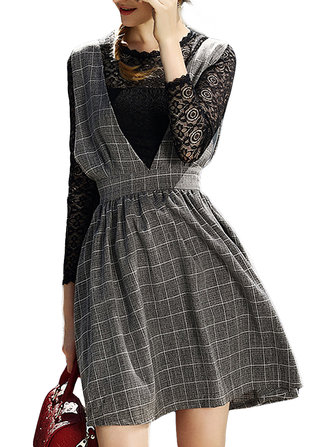 Belt Bow Vintage Slim Lace Check Patchwork Two Pieces Women Skater Dress