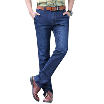 Mens Casual Business Loose Elastic Back Zipper Pocket Straight Leg Basic Jeans
