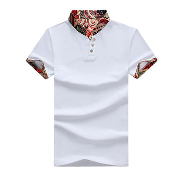National Wind Printed T-shirt Casual V-neck Short Sleeve Gol