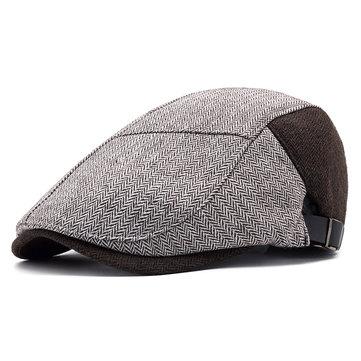 Mens Retro Cotton Patchwork Painter Beret Caps Casual Adjustable Forward Hat