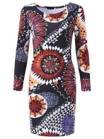 Sexy Printing Long Sleeve Hollow Out Package Hip Elastic Party Dress