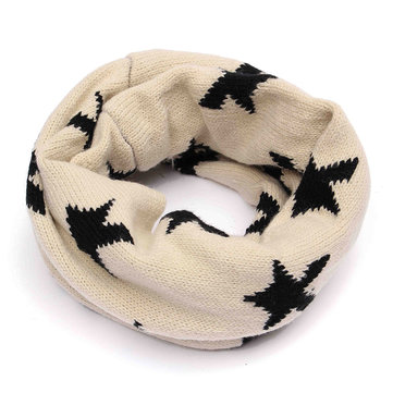 Boys Girls Children Kids Star Sports Pentagram Neckerchief Wool Knitted Circle Scarf Shawl Snow Winter Warmer