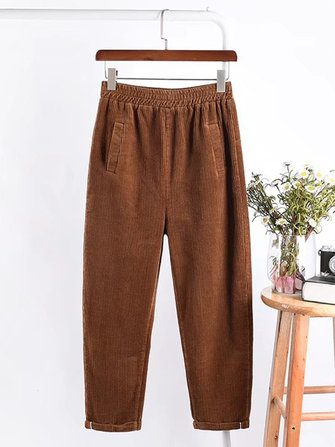 Casual Women Solid Color Elastic Waist Corduroy Harem Pants