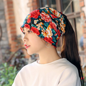 Women Warm Flower Print Dual Use Beanie Scarf Ponytail Cap