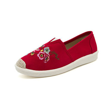 Women EmbroideryCasual Soft Sole Flat Loafers