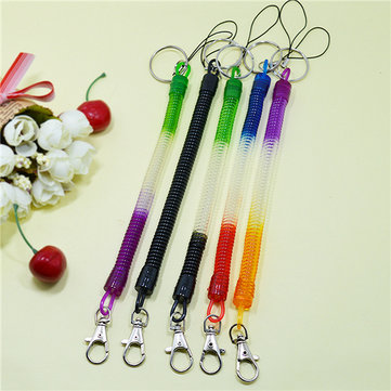 Spring Coiled Stretchy Retractable Plastic Coil Belt Key Chain Snap Clip Ring