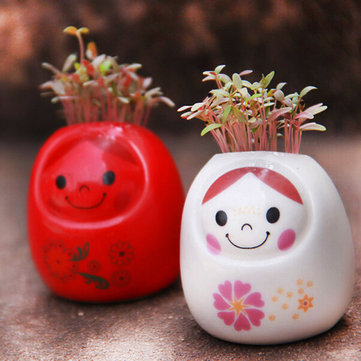 DIY Mini Ceramic Doll Green Grass Potted Plant Desktop Office Decor