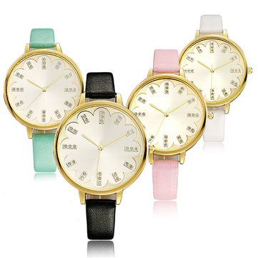 Fashion Elegant Sun Wen Lace Golden Case Thin PU Leather Band Analog Quartz Watch