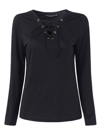 Sexy Slim Femmes V-Neck Lace-Up Patch Elastique Haut Chemises