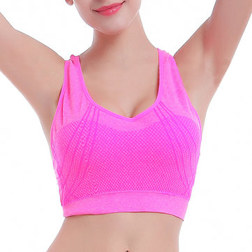 Women Cozy Seamless Gather Sport Bra Wireless Back Cross Belt Hollow Out Shakeproof Vest Yoga Bra