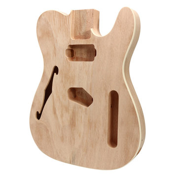 DIY Electric Guitar Mahogany Wood Body Telecaster Thinline Style Body Part Single F Hole
