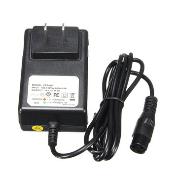 24V 0.6A 3-Prong Battery Charger For Razor E100 E125 E500S PR200 Scooter Bike