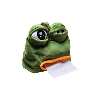 Creative Sad Frog Cloth Toy Soft Frog Tissue Box Funny Paper Holder Plush Toys Tissue Box Home Decorations