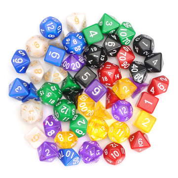 49pcs Multi-sided Polyhedral Digital Acrylic Dice Set 7 Colors w/Carry Bag