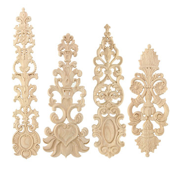 Wood Carving Applique Unpainted Flower Applique Door Decoration Onlay Furniture Cabinet 4 Patterns