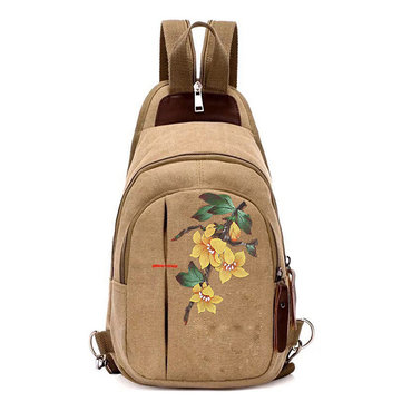 Women Creative Hand-painted Canvas Backpack Handbag